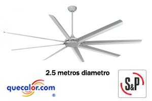 Ventilador De Techo Industrial HVF-2500W , 127V, Marca:Soler&Palau, Diametro: 2500mm, Codigo: 5HVF2500W