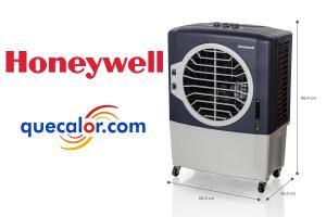 Enfriador De Aire Evaporativo Tipo Cooler Marca Honeywell Portatil Con Control Remoto, Modelo CL401PM Con 3 Funciones: Enfriador, Ventilador Y Humidificador. Capacidad De 38 Litros De Agua. Compartimiento Para Hielos, Habilitado Para Uso En Exteriores.
