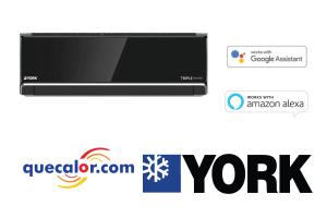 Minisplit TRIPLE INVERTER YORK, 12000 Btu , Solo Frio, Voltaje 220/1/60 , Alta Eficiencia 17.3 SEER , Modelo YHJE12ZJMEXCORX ,Control De Voz A Traves De Alexa Y Google Home. Filtro De Alta, Color Negro.